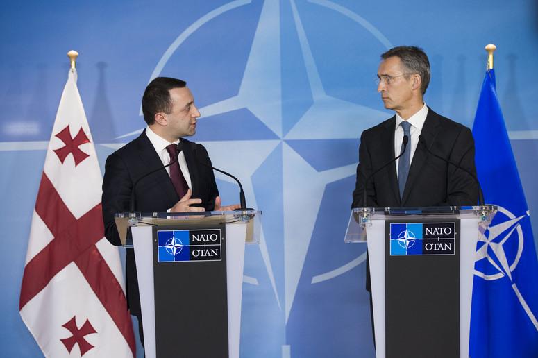 Irakli Garibashvili, premier georgiano, e il segretario generale ella NATO Jens Stoltenberg