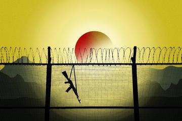 Illustrazione raffigurante un fucile appeso alla rete del confine