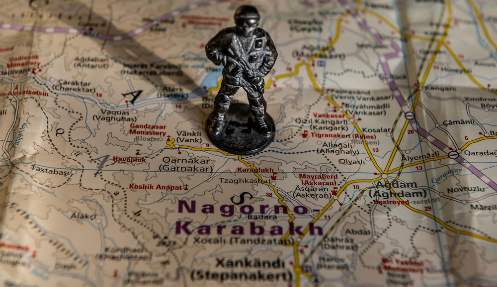 Una mappa georgafica del Nagorno Karabakh