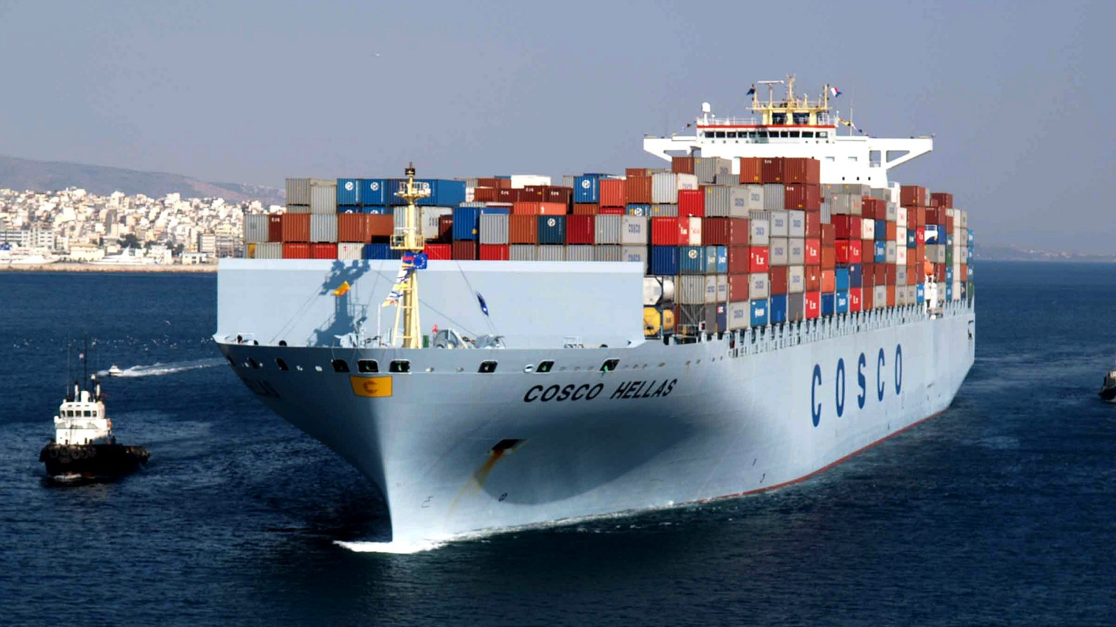 A COSCO container ship enters the Piraeus port in Greece