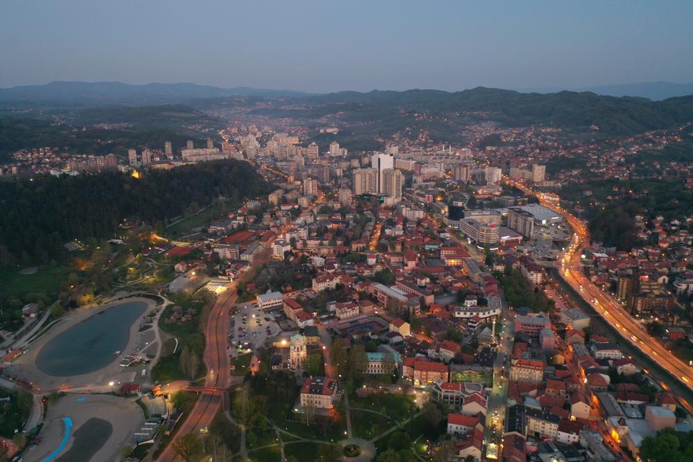Veduta aerea di Tuzla, Bosnia Erzegovina