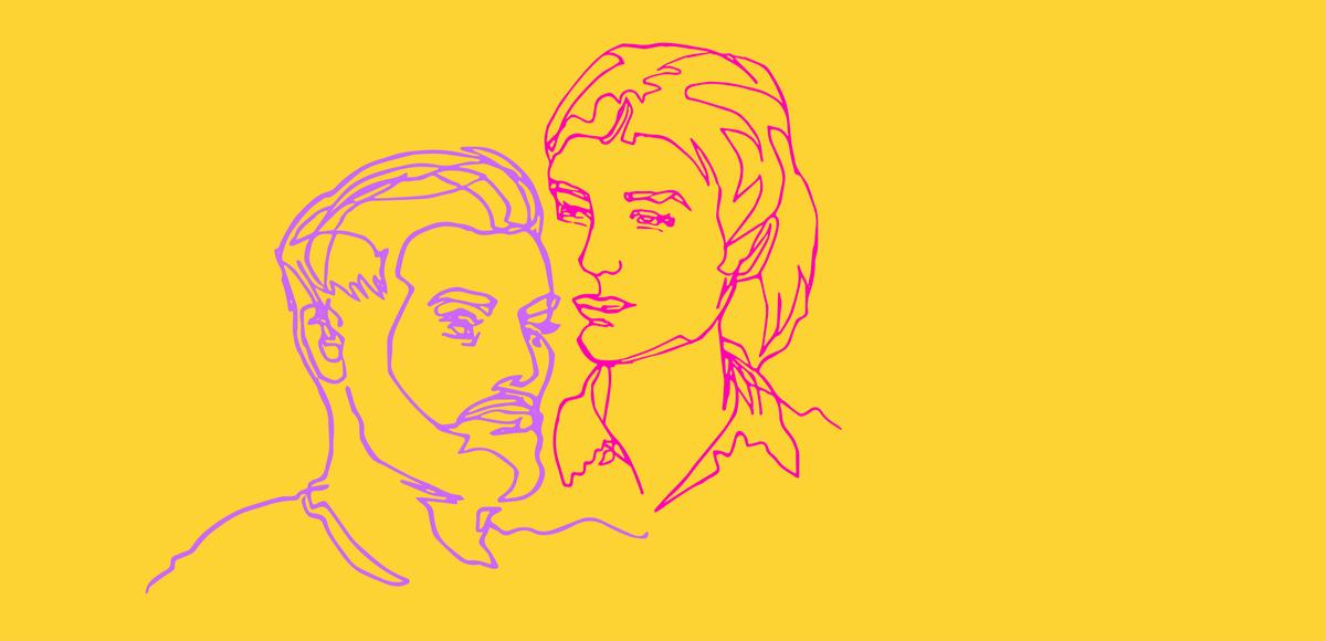Profilo di un uomo e una donna su sfondo giallo