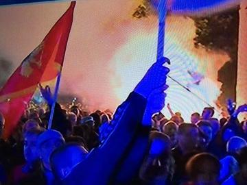 Proteste di piazza a Podgorica, 25 ottobre 2015 (foto: Balkan News Beat, twitter)