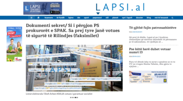 La homepage di Lapsi.al