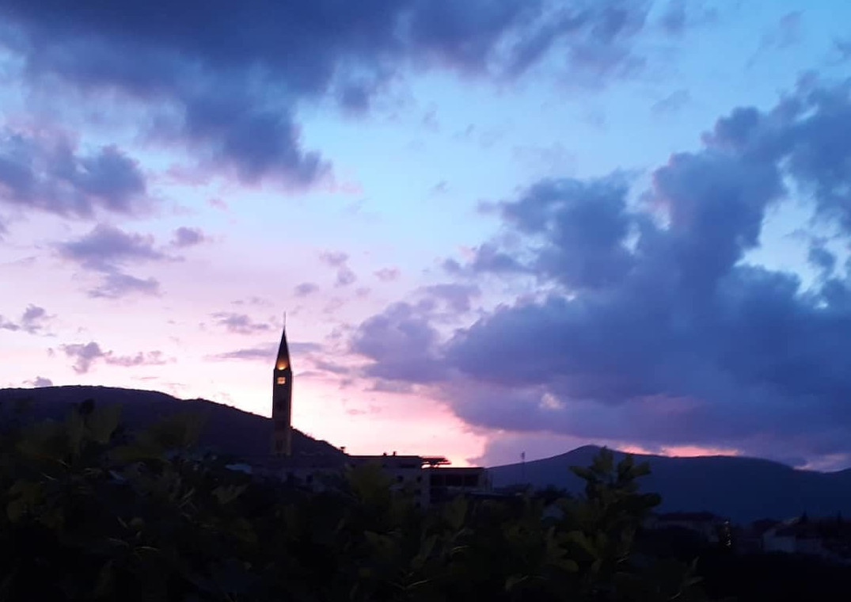 Minareto, tramonto, Bosnia Erzegovina