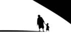 Immagine stilizzata di donna che tiene per mano un bambino