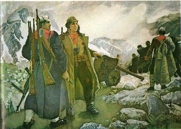 Momenti della resistenza partigiana raffigurati nell'epoca dell'Albania socialista