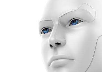 Il viso di un robot femminile