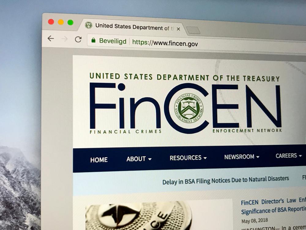 Il sito web del Financial Crimes Enforcement Network (FinCen) © Jarretera/Shutterstock