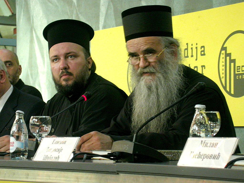 Amfilohije Radović (a destra) foto Medija centar Beograd