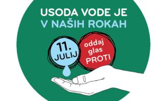 Uno dei manifesti della recente campagna referendaria slovena per la bocciatura della nuova Legge sull'acqua