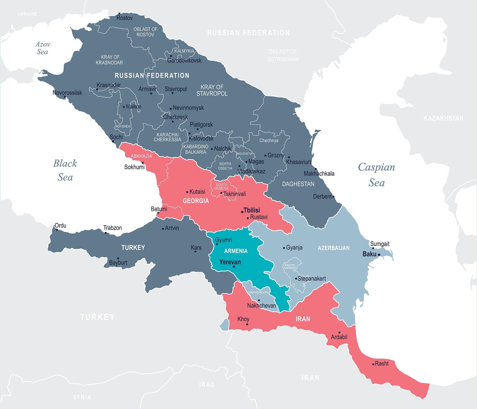 Mappa della regione caucasica