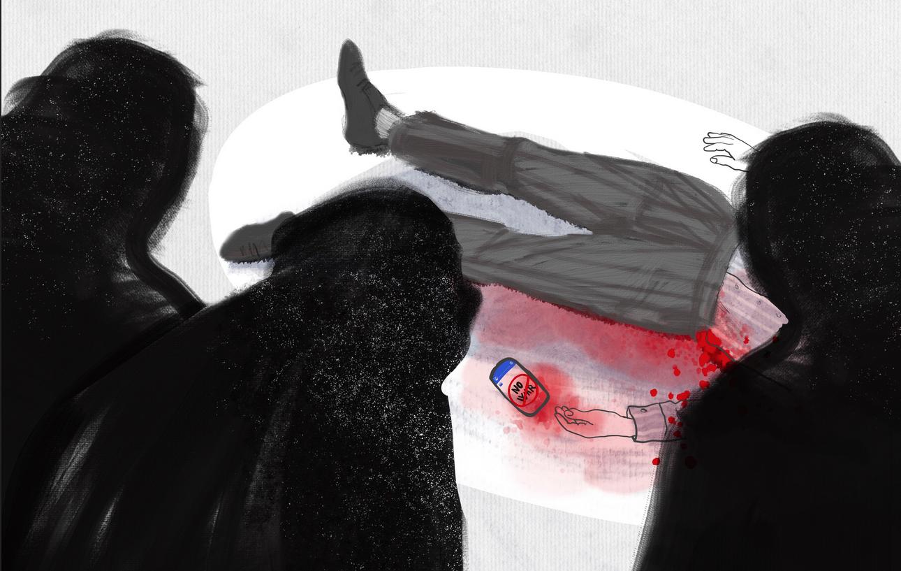 Illustrazione che mostra un cadavere a terra, circondato da masse scure. Al suo fianco un telefonino con un messaggio pacifista. Illustrazione di Fidan Akhundova/Chai Khana