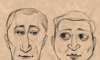 Un ritratto a matita dei presidenti Vladimir Putin e Volodymyr Zelensky - Myasnikova Natali/Shutterstock