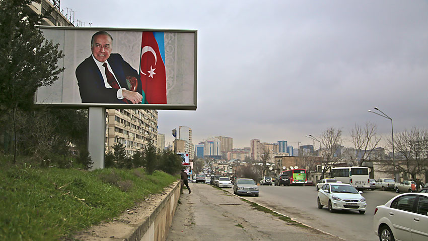 A giant poster of Heydar Aliyev, father of the current President