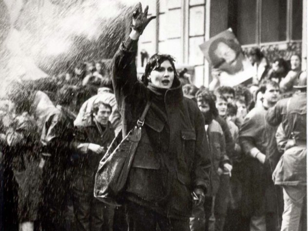 Dragana Milojević, durante le manifestazioni del 9 marzo 1991