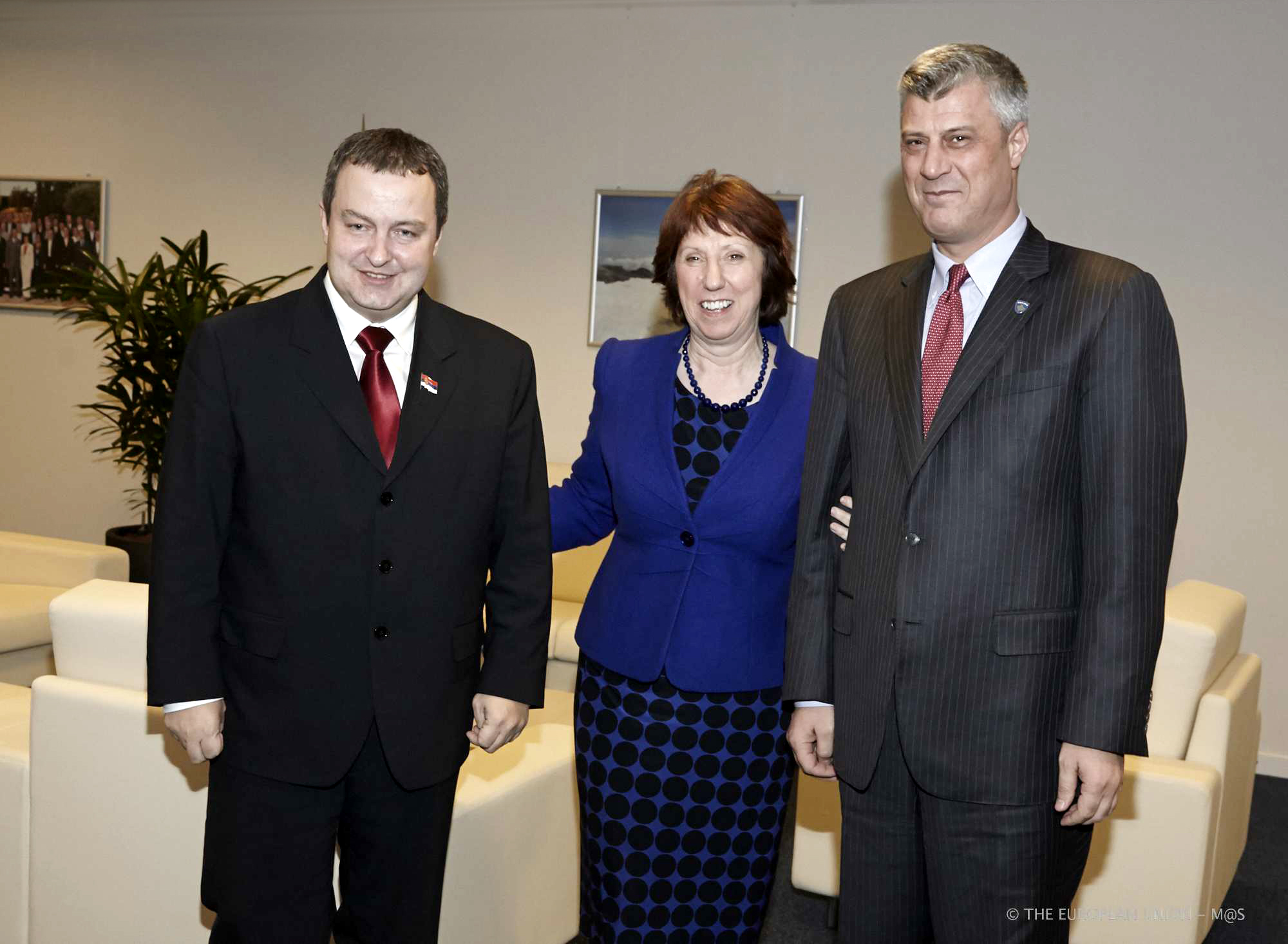 Dačić, Thaçi e la Ashton (Foto: The Council of the European Union)