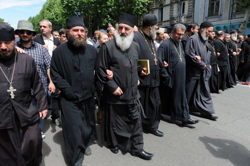Anti-LGBT rally of clerics and parish, Tbilisi, May 17, 2013