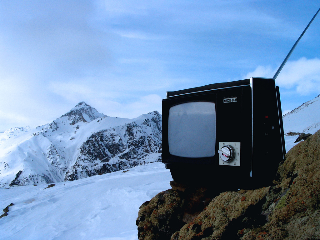 A TV set in the Caucasus mountains