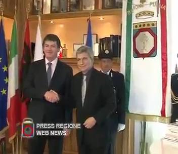 Puglia e Albania più vicine, Vendola riceve il Presidente Topi