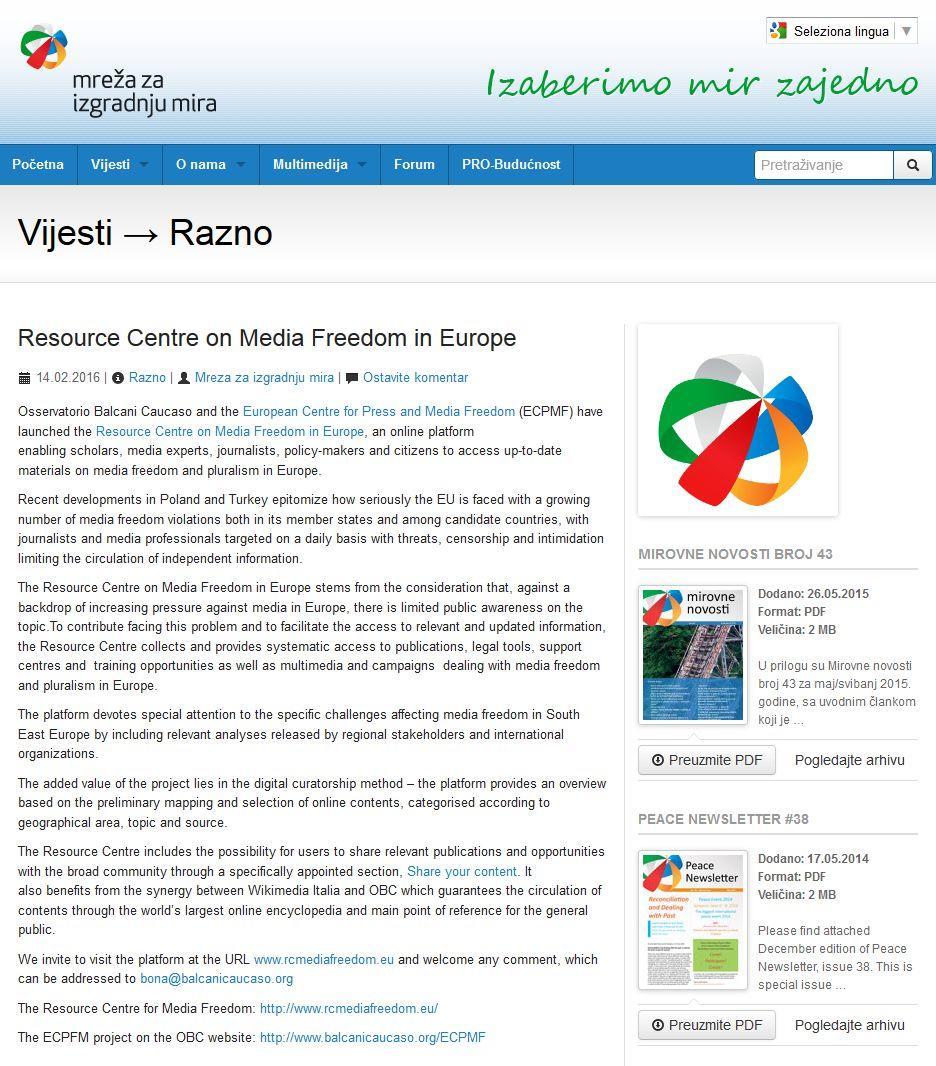Articolo Sul Lancio Del Resource Centre ECPMF Mreza Mira Bosnia Erzegovina 14 02 2016
