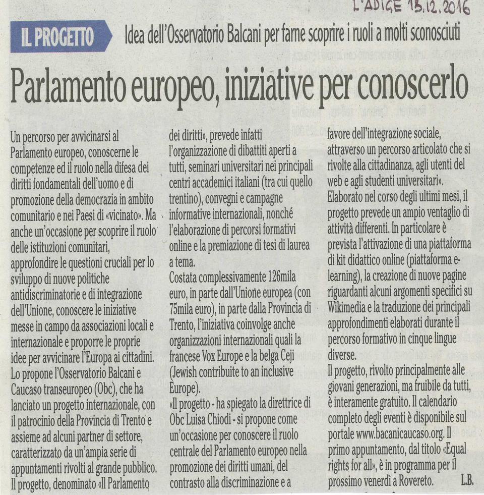 Screen shot articolo sul progetto europeo il parlamento for Rassegna stampa parlamento