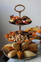 Khoncha: a three-story porcelain tray with pastries, dried fruits, nuts, and dyed eggs