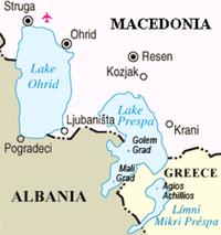 Mappa dell'area dei laghi di Prespa