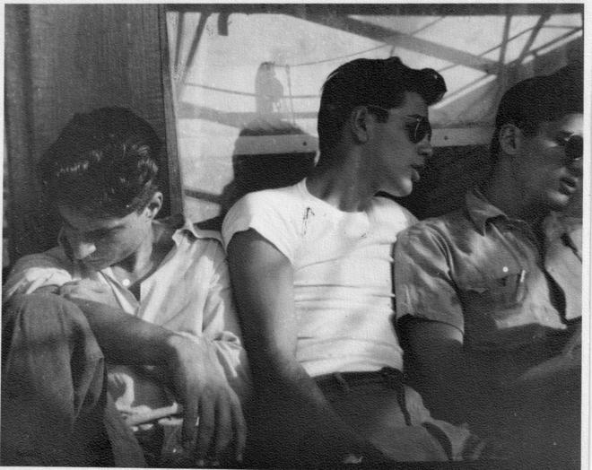Armenian-American Repatriates Bobby (left), Paul (center), and Johnny (right) sailing on the Rossiya from New York to Armenia in 1947. Photograph courtesy of Hazel Antaramian Hofman