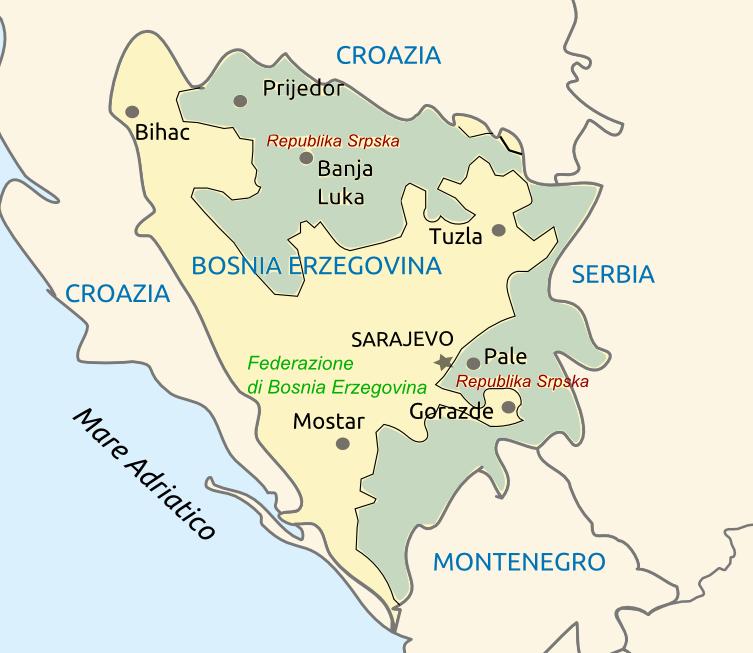 Mappa della Bosnia Erzegovina