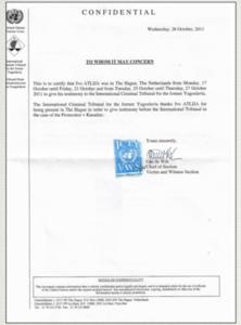 Certificazione TPI testimonianza Atlija al processo Karadžić - Archivio personale di Ivo Atlija  e Frano Piplović