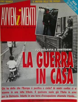 La copertina di Avvenimenti del 1991