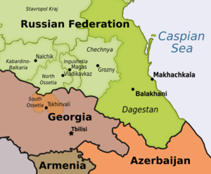 Dagestan (highlighted, Makhachkala and Balakhani) – map by OBC