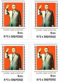 Francobollo realizzato per il 70mo compleanno di Enver Hoxa