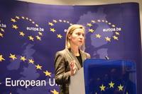 Federica Mogherini nella conferenza stampa di ieri a Sarajevo (Foto Andrea Rossini)