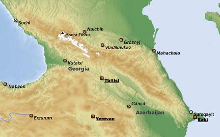 Il Caucaso - cartina fisica