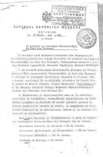 Il documento con cui si spostava nel 1992 l'università di Tiraspol a Chisinau