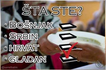 """Il seguente post, riprendendo la categorizzazione etnica del recente censimento, chiede """"Che cosa siete: bosgnacchi, serbi, croati o affamati?"""""""