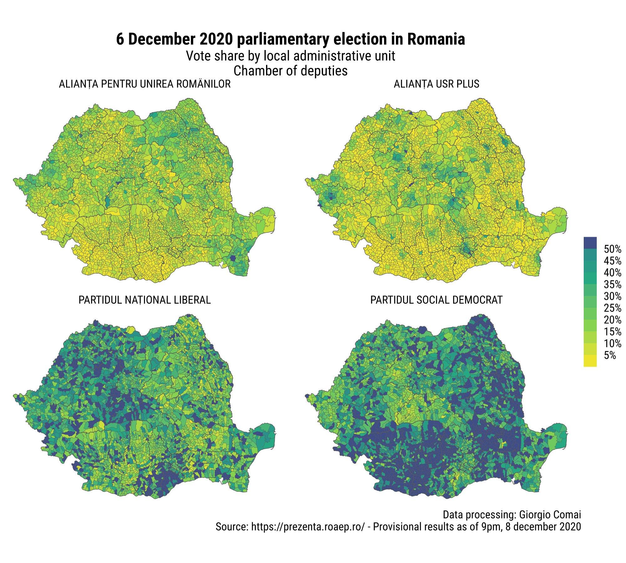 Il voto alle parlamentari del 2020 in Romania