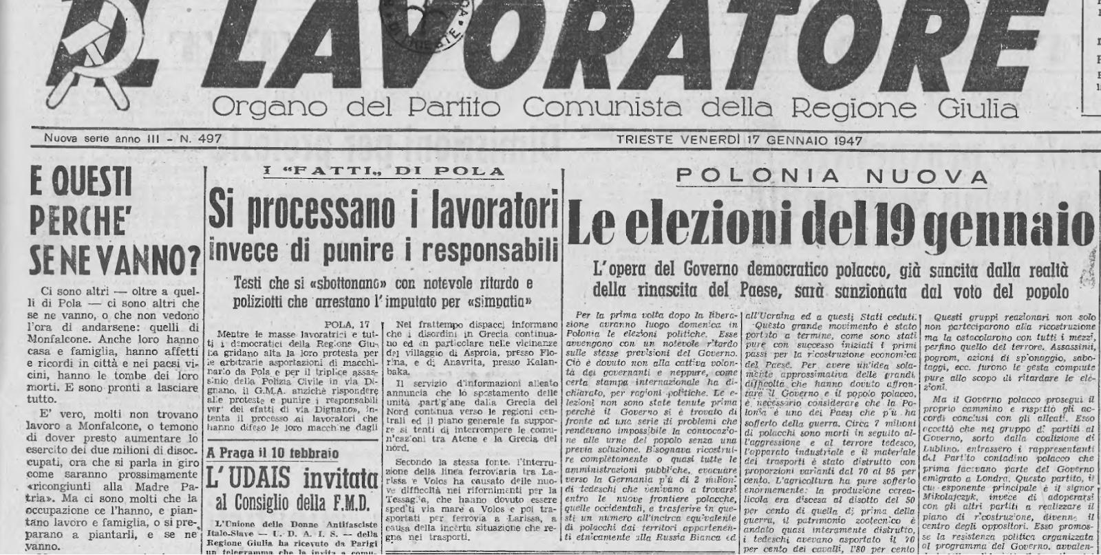 """""""E questi perché se ne vanno?,"""" Il Lavoratore, 17 gennaio 1947"""