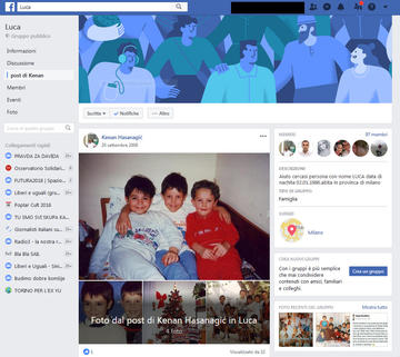 """Screenshot from the Facebook page """"Luca"""" opened by Kenan Hasanagić"""