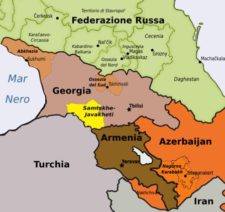 In giallo, la regione Samtskhe-Javakheti (mappa di Osservatorio Balcani e Caucaso)