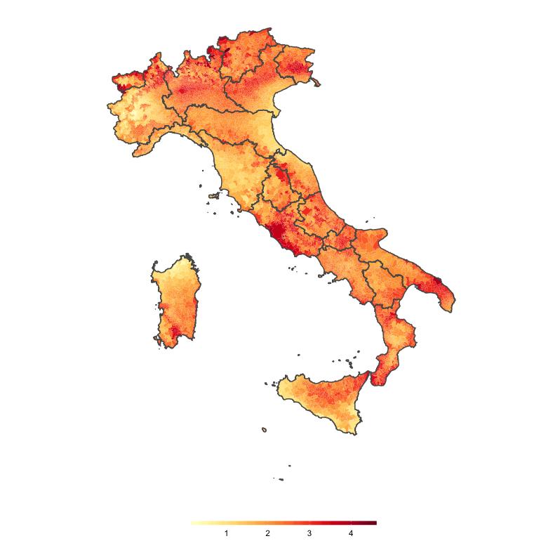 Italia variazione termica comuni