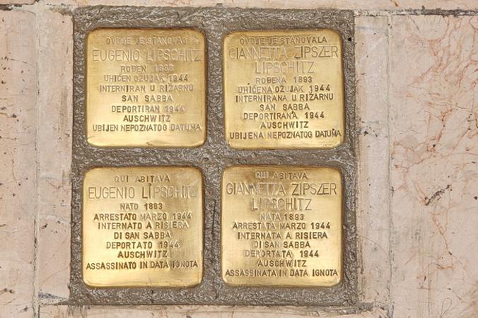 La pietra d'inciampo davanti alla ex via Mameli 5, Rijeka
