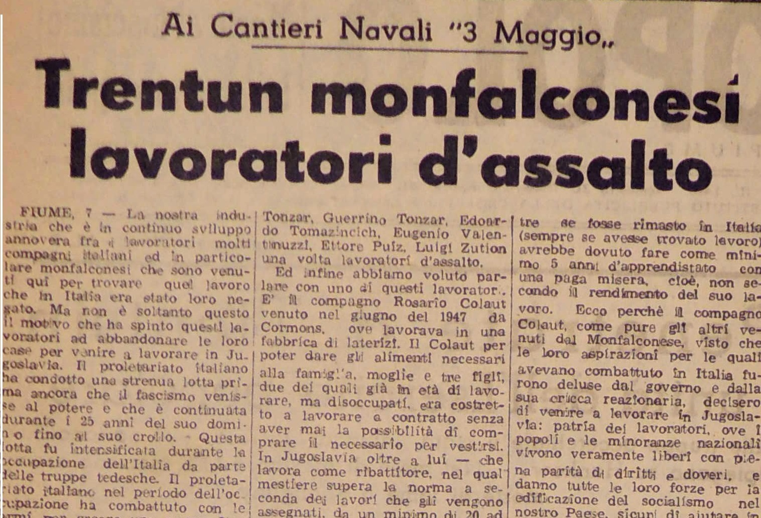 La voce del Popolo, January 1949