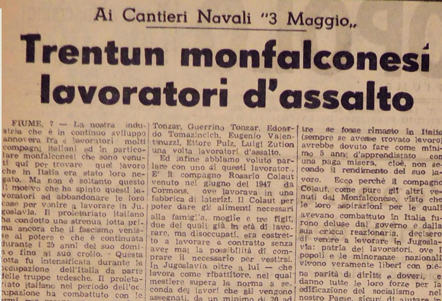 La voce del Popolo, gennaio 1949
