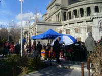 Lo stand di Hovhannisyan in sciopero della fame in Piazza della Libertà (Foto Ilenia Santin)
