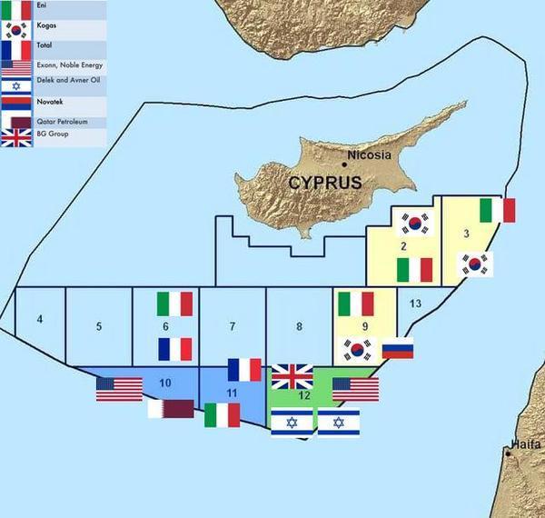 La carta indica la Zona economica esclusiva di Cipro, i diversi blocchi di sfruttamento delle riserve di gas, le compagnie che li sfruttano e i loro paesi.
