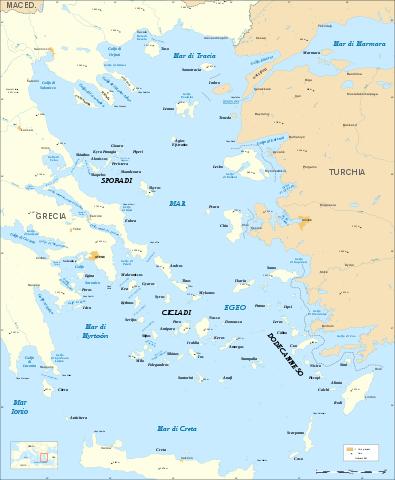 Una mappa del Mar Egeo