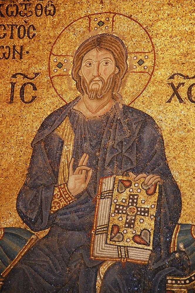 Uno dei mosaici bizantini all'interno di Santa Sofia
